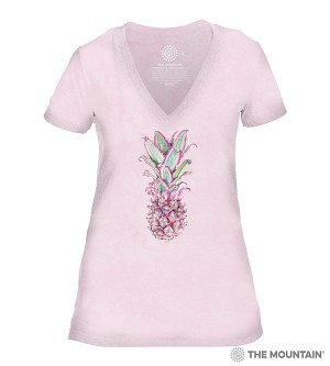 Pineapple - Pink - 41-6341 - Women's Triblend V-Neck Tee