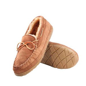 Old Friend - Men's Camp Moccasin - 421190 - Genuine Shearling Lining - Tan