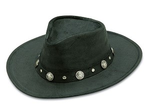 Minnetonka 9519 - Western Hat with Buffalo Nickel Accents - Black Rough Leather