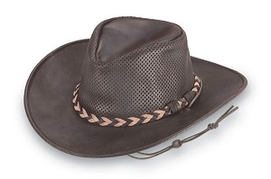 Minnetonka 9533 -  Fold Up Outback Hat - Dark Brown Leather