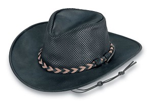 Minnetonka 9539 -  Fold Up Outback Hat - Black Leather