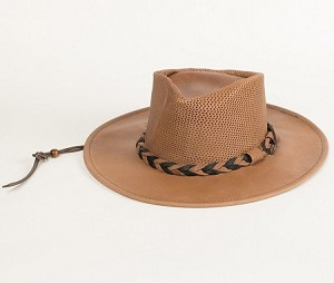 Minnetonka 9535 -  Fold Up Outback Hat - Smokey Tan Leather