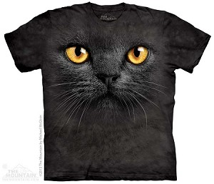Big Face Black Cat - Adult Tshirt