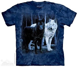 Black And White Wolves - Adult Tshirt