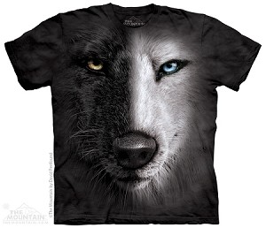 Black And White Wolf Face - Adult Tshirt