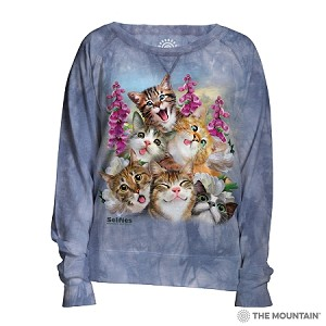 Blue Selfie Cats - 74-5866 - Women's Slouchy Crew