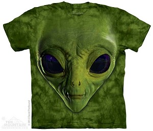 Green Alien Face - Adult Tshirt