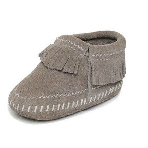 Minnetonka Moccasins 1161T - Infants Riley Bootie - Grey Suede