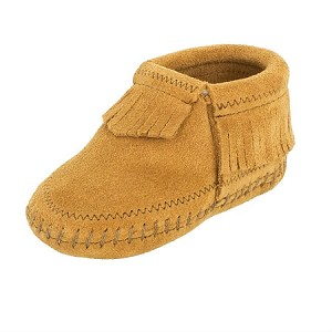 Minnetonka Moccasins 1167 - Infants Riley Bootie - Taupe Suede