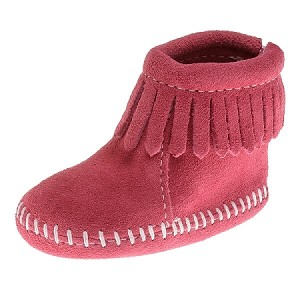 Minnetonka Moccasins 1180 - Infants Back Flap Bootie - Pink Suede