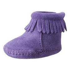 Minnetonka Moccasins 1184S - Infants Back Flap Bootie - Purple Suede