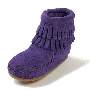 Minnetonka Moccasins 1294S - Infants Double Fringe Bootie - Purple Suede