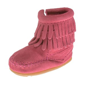 Minnetonka Moccasins 1295 - Infants Double Fringe Bootie - Hot Pink Suede