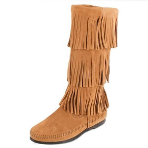 Minnetonka Moccasins 1637T - Women's 3 Layer Fringe Calf High Boot - Taupe Suede
