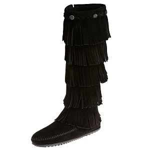 Minnetonka Moccasins 1659 - Women's - 5 Layer Fringe Boot - Black Suede
