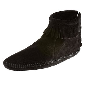 Minnetonka Moccasins 189 - Women's Softsole Ankle Boot - Black Suede