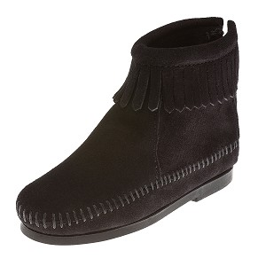 Minnetonka Moccasins 2289 - Childrens Ankle Boot - Back Zipper - Black Suede