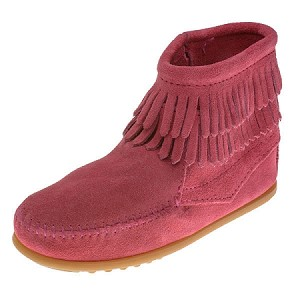 Minnetonka Moccasins 2295 - Childrens Double Fringe Ankle Boot - Hot Pink Suede