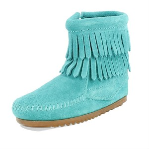 Minnetonka Moccasins 2296 - Childrens Double Fringe Ankle Boot - Turquoise Suede