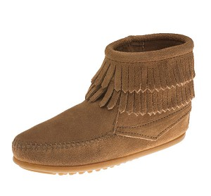 Minnetonka Moccasins 2297T - Childrens Double Fringe Ankle Boot - Taupe Suede
