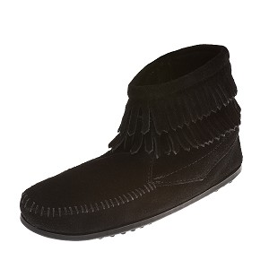 Minnetonka Moccasins 2299 - Childrens Double Fringe Ankle Boot - Black Suede