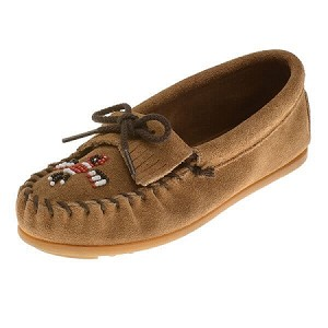 Minnetonka Moccasins 2607T - Childrens Thunderbird Moccasin - Taupe Suede