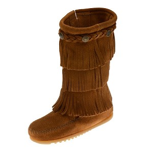 Minnetonka Moccasins 2652 - Children's 3 Layer Fringe Boot - Brown Suede