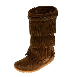 Minnetonka Moccasins 2658 - Children's 3 Layer Fringe Boot - Dusty Brown Suede