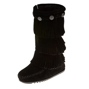 Minnetonka Moccasins 2659 - Children's 3 Layer Fringe Boot - Black Suede