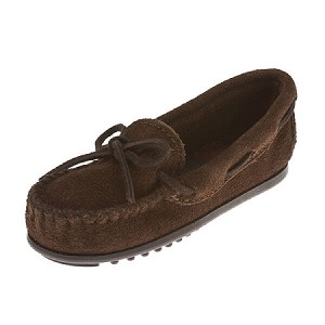 Minnetonka Moccasins 2773 - Boy's Sporty Moccasin - Chocolate Suede