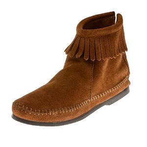 Minnetonka Moccasins 282 - Women's Hardsole Ankle Boot - Brown Suede