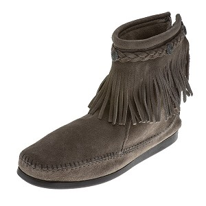 Minnetonka Moccasins 291T - Women's High Top Fringe Boot - Grey Suede