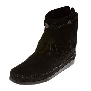 Minnetonka Moccasins 299 - Women's High Top Fringe Boot - Black Suede