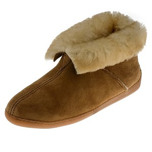 Minnetonka Moccasins 3351 - Women's Sheepskin Ankle Boot Slipper - Golden Tan