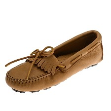 Minnetonka Moccasins 350 - Women's Moosehide Fringed Kilty Driving Moccasin - Natural