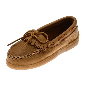 Minnetonka Moccasins 390 - Women's Moosehide Fringed Kilty Moccasin - Natural
