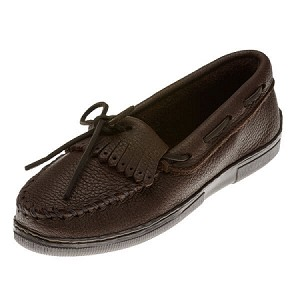 Minnetonka Moccasins 392 - Women's Moosehide Fringed Kilty Moccasin - Chocolate
