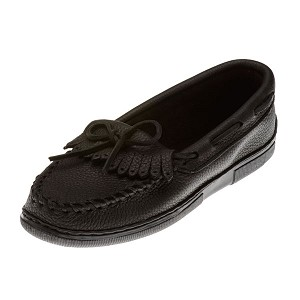 Minnetonka Moccasins 399 - Women's Moosehide Fringed Kilty Moccasin - Black