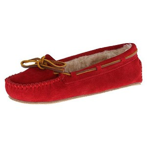 Minnetonka Moccasins 4016 - Women's Cally Slipper - Pile Lined - Red Suede