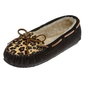 Minnetonka Moccasins 40160 - Women's Leopard Cally Slipper - Black Suede
