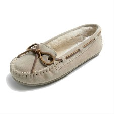 Minnetonka Moccasins 4018 - Women's Cally Slipper - Pile Lined - Stone Suede