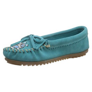 Minnetonka Moccasins 401J - Women's Me To We Moccasin - Turquoise Suede