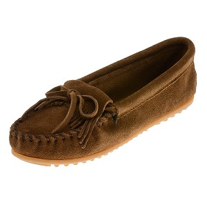 Minnetonka Moccasins 403 - Women's Kilty Hardsole Moccasin - Dusty Brown Suede