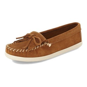 Minnetonka Moccasins 403L - Women's Kilty Hardsole Newport Moccasin - Dusty Brown Suede