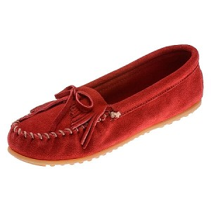 Minnetonka Moccasins 406 - Women's Kilty Hardsole Moccasin - Cherry Red Suede
