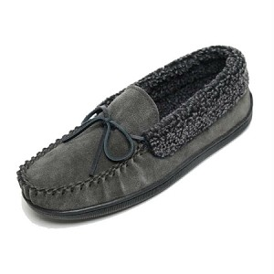 Minnetonka Moccasins 4115 - Men's Allen Slipper - Berber Lined - Charcoal Suede