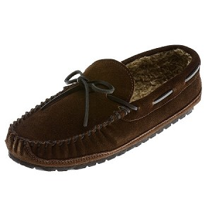 Minnetonka Moccasins 4155 - Men's Casey Slipper - Pile Lined - Chocolate Suede