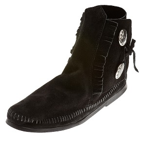 Minnetonka Moccasins 449 - Women's Two Button Hardsole Ankle Boot  - Black Suede