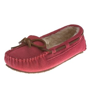 Minnetonka Moccasins 4815 - Children's Cassie Slipper - Hot Pink Suede