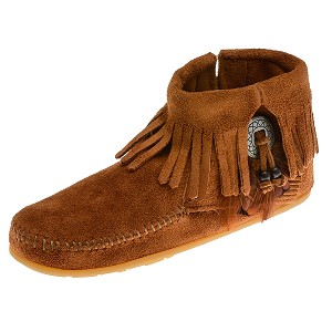 Minnetonka Moccasins 522 - Women's Concho/Feather Ankle Boot - Side Zip - Brown Suede